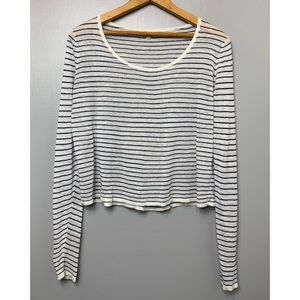 MADEWELL Linen Striped Long Sleeve Top